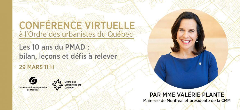 Valérie Plante - Conférence virtuelle à l'Ordre des urbanistes du Québec